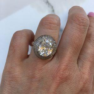 Jewelry - 14k white gold diamond ring pave halo wedding 6 CT